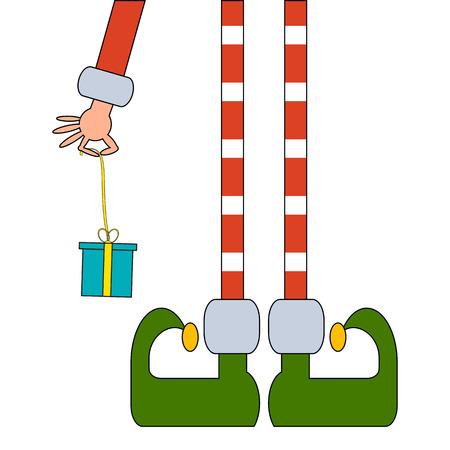Elf's benen en Elf's hand met een cadeau Vector illustratie