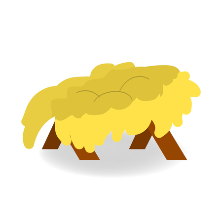 Christmas empty manger icon. Illustration