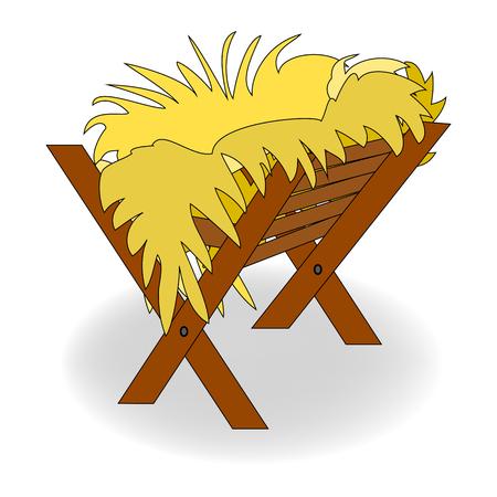 Christmas empty manger icon. Stock Illustratie