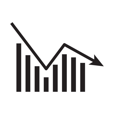 Business graph icon isolated on white background. Downside trend graph, bar chart image with arrow down. Vector illustration for banner, template, poster, postcard, web, app, infographics.  Illustration