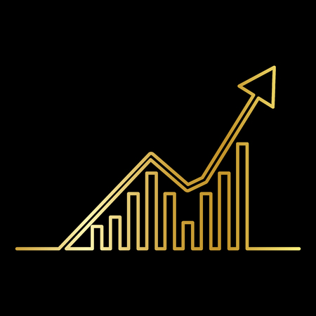 Continuous Gold  line drawing of graph icon isolated on black background. Growing chart image with arrow up. Vector illustration for banner, template, poster, postcard, web, app, infographics.