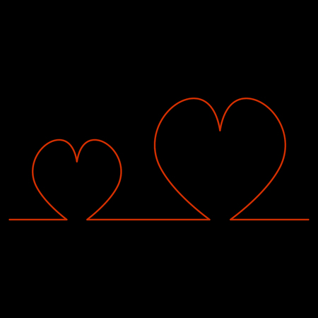 Continuous Line Two Hearts Shape for Valentines Day Illustration