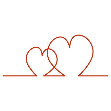 Continuous Line Two Hearts Shape for Valentines Day. Vector illustration of a hearts isolated on white background.  Illustration