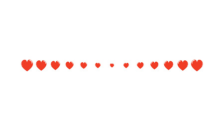 Red Heart Horizontal Line Simple Shape Vector Symbol Icon Design. Illustration of  hearts line divider isolated on white background.