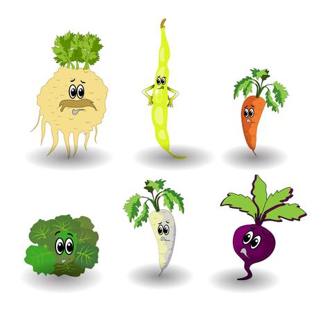 Insieme di verdure del fumetto. Simpatici personaggi volto vegetale isolato su sfondo bianco illustrazione vettoriale. Sei divertente collezione di icone vettoriali faccia di verdure. Emoji del cibo del viso dei cartoni animati. Emoticon vegetale. Concetto di cibo divertente.