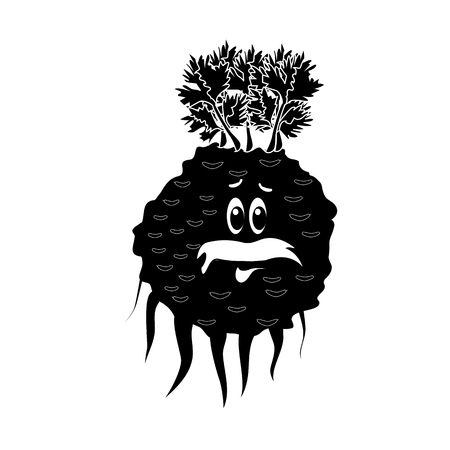 Cartoon vegetable -  silhouette celery. Cute character vegetable celery face isolated on white background vector illustration. Simple  silhouette celery face icon vector. Cartoon face food emoji. Vegetable emoticon. Funny food concept.