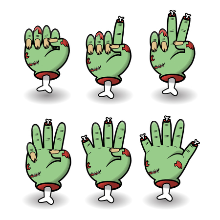 Severed zombie counting hand gesture set. Halloween counting hand sign from zero to five. Communication gestures concept. Vector illustration isolated on white background.