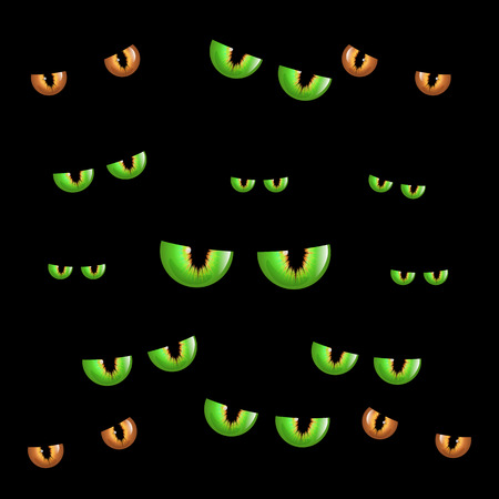 Spooky eyes.  Vector illustration of animal eyes isolated on black background. Scary eyce for halloween composition