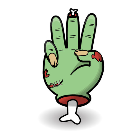Counting hand gesture. Halloween counting zombie hand showing three. Communication gestures concept. Vector illustration isolated on white background.