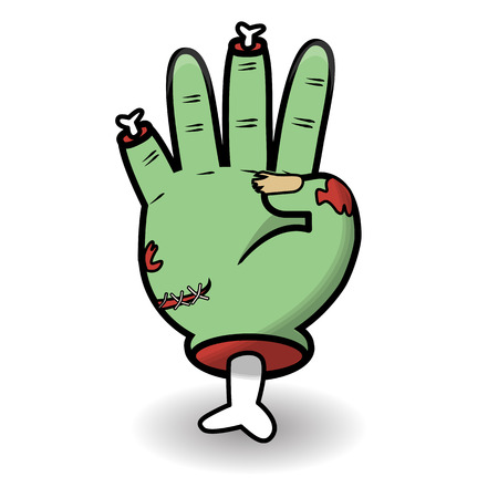 Counting hand gesture. Halloween counting zombie hand showing four. Communication gestures concept. Vector illustration isolated on white background.