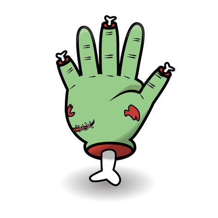Counting hand gesture - open hand. Halloween counting zombie hand showing five. Communication gestures concept. Vector illustration isolated on white background.