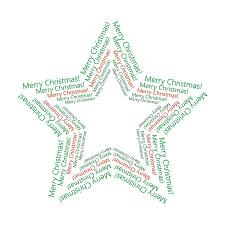 Christmas Star Made of Text Merry Christmas. Vector Christmas Text decoration isolated on white background. Christmas star for design, card, invitation, print.