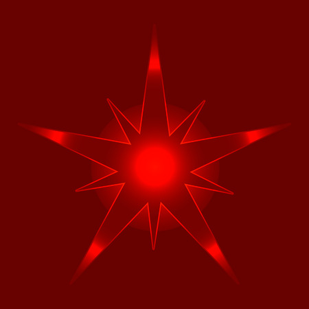 Christmas Shiny Star Vector Illustration Isolated on red background. Sparkling Star Top View. Christmas neon star for tree decoration or design, card, invitation, print