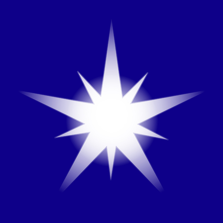 Christmas Shiny Star Vector Illustration Isolated on blue background. Sparkling Star Top View. Christmas neon star for tree decoration or design, card, invitation, print Illustration