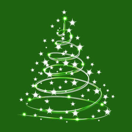 Christmas Tree Sparkle made of Shiny Stars. Vector sparkle tree isolated on Green Background. Christmas Tree for design, card, invitation, print.