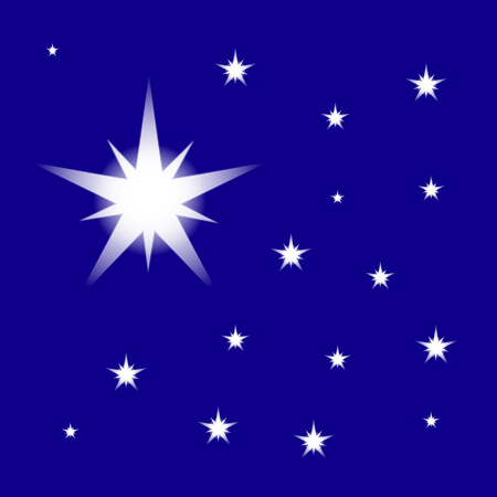 Starry Night Sky, vector isolated on blue background. Christmas star for design, card, invitation, print.