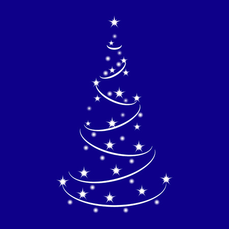 Sparkle Christmas Tree made of Shiny Stars. Vector neon tree isolated on Blue Background. Christmas Tree for design, card, invitation, print. Illustration