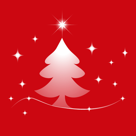 Christmas Tree With Stars Icon Symbol Design. Vector illustration of transparent tree and stars silhouette isolated on red background. Can be use for decoration, gifts, greetings, holidays, etc. Illustration