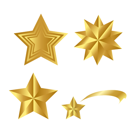 Realistic Golden Stars Vector Set Isolated on White Background. Glossy 3D Christmas star icon. Design element for design, card, invitation, print. Illustration