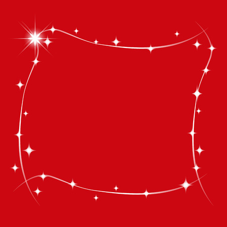 Stars Wishes Frame for Christmas and New Year Isolated on Red Background. Vector Graphic Frame for design, card, invitation, print. Illustration