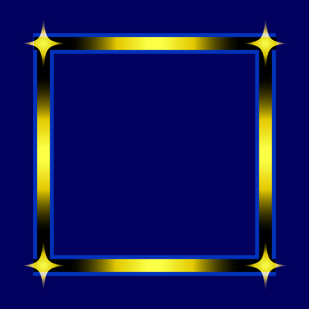 Stylish Square Frame with 4 Stars Isolated on Blue Background. Vector Graphic Frame for design, card, invitation, print for Christmas, New Year, etc...  Illustration