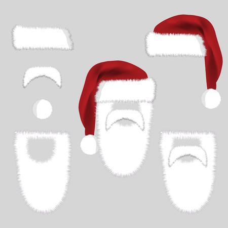 Set of Santa Accessories Hats, Moustache, Beard. Vector Christmas  illustration isolated on grey background. Santa Constructor Icon Symbol Design