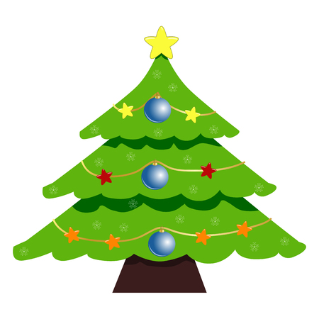 Christmas Tree Icon Symbol Design. Vector illustration of green tree silhouette  isolated on white background. Simple shape style. Flat design. Can be use for decoration, gifts, greetings, holidays, etc. Illustration