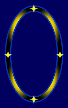 Stylish Ellipse Frame with Stars Isolated on Blue Background. Vector Graphic Frame for design, card, invitation, print for Christmas, New Year, etc...