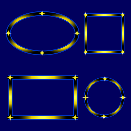 Set of Vector Graphic Stylish Frame with Stars Isolated on Blue Background. Vector Graphic Frame for design, card, invitation, print for Christmas, New Year, etc...