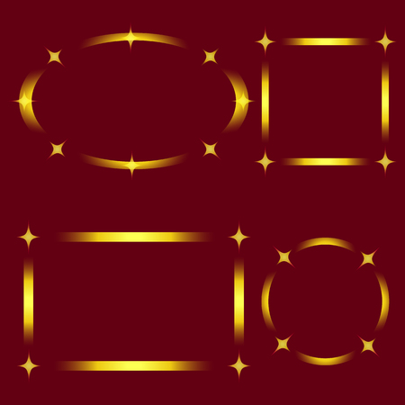 Set of Golden Stylish Frames with Stars isolated on Red Background. Vector Graphic Frame for design, card, invitation, print for Christmas, New Year, etc...