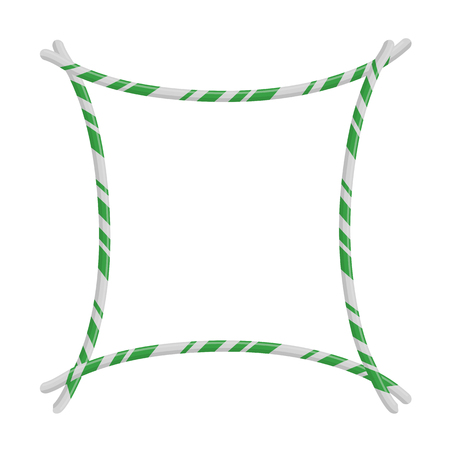 Candy Cane Frame Border. Vector christmas design isolated on white background