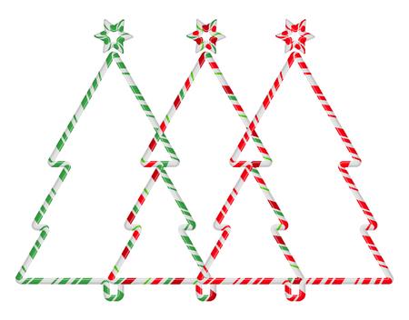 Christmas Tree Candy Cane Frame Border Set. Vector christmas design isolated on white background
