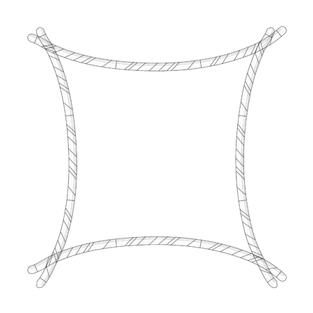 Candy Cane Frame Border Silhouette. Vector christmas outline design isolated on white background