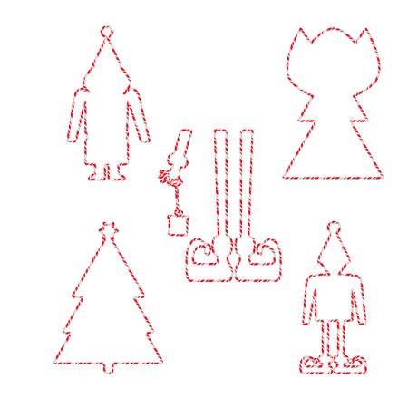 Candy Cane Frames Border Christmas Shapes Set. Vector christmas design isolated on white background Illustration