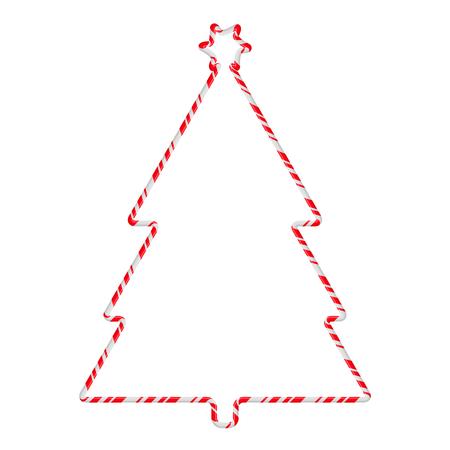 Candy Cane Frame Border Tree Shape. Vector christmas design isolated on white background