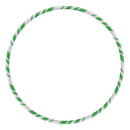 Candy Cane Frame Border Circle Shape. Vector christmas design isolated on white background