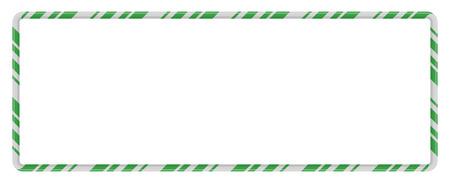 Candy Cane Frame Border Rectangle Shape. Vector christmas design isolated on white background