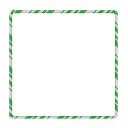 Candy Cane Frame Border Square Shape. Vector christmas design isolated on white background