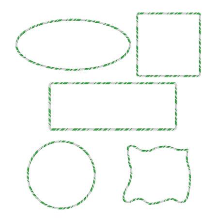 Candy Cane Frames Border Set: Square, Circle, Rectangle, Ellipse, Random Shape. Vector christmas design isolated on white background Illustration