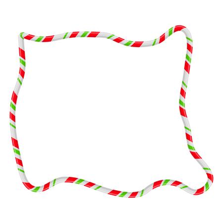 Candy Cane Frame Border Random Shape. Vector christmas design isolated on white background