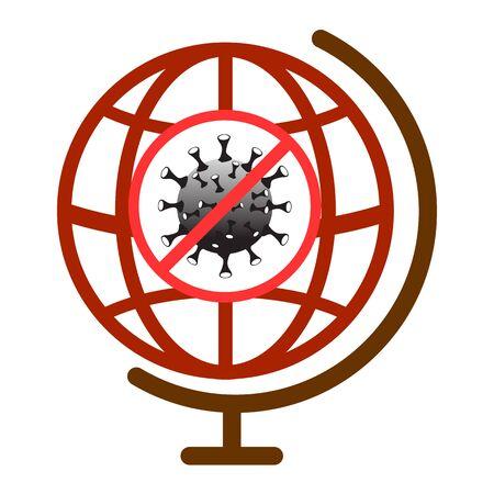 Coronavirus disease stop symbol. Influenza global epidemic. Covid-19 sign in globe. Virus infection stop icon. Disease template isolated on white background. Vector illustration image. Illustration