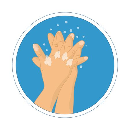 Washing hands with soap vector sign.  How to wash your hands infographic. Hand Washing Instruction