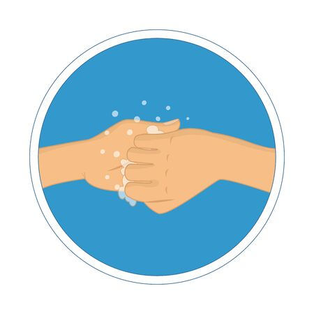 Washing hands with soap vector sign   向量圖像