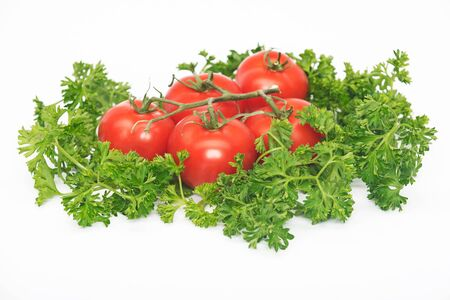 peppery: Curly  parsley and tomatoes Stock Photo