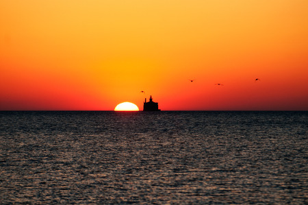 lake michigan lighthouse: Sunrise, Lake Michigan