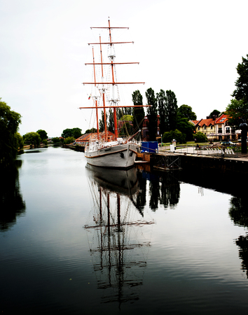 Sailing boat on river