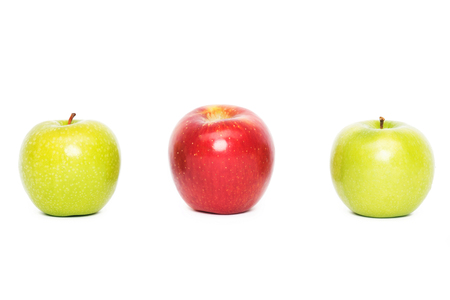 Three apples, white background