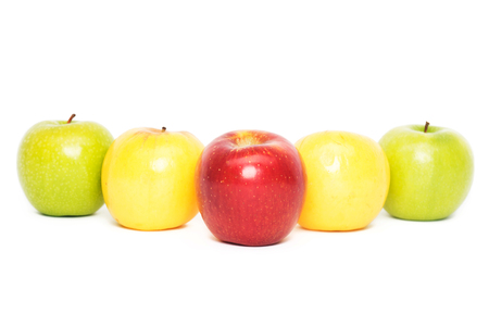 Five apples, white background