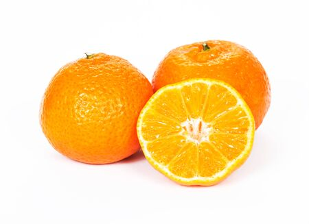 tangerines: Tangerines, white background Stock Photo
