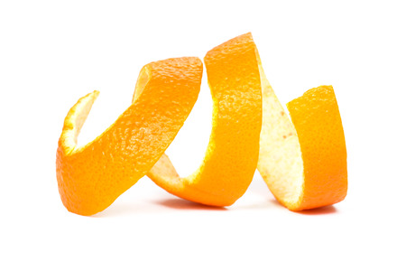 orange color: Orange peel, white background Stock Photo